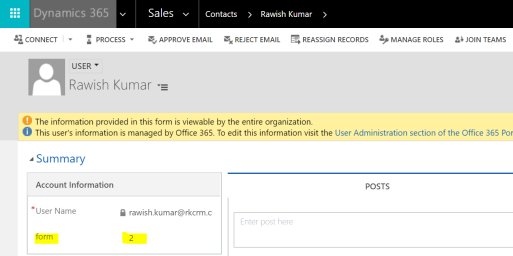 Show entity form based on a field value in Microsoft