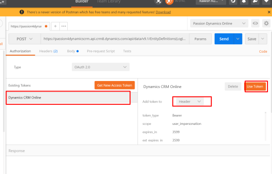 how to get access token for dynamics crm authentication