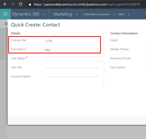populate values from on quick create form – Passion Dynamics
